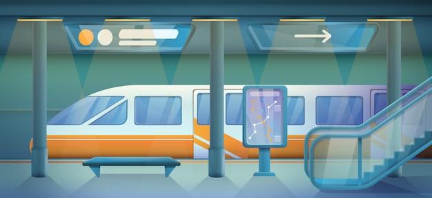 Estación de metro vacía de dibujos animados, ilustración vectorial