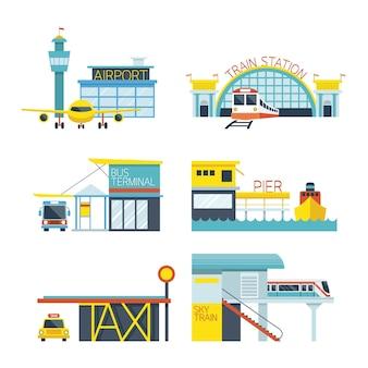 Estación, modo de transporte objetos ilustración