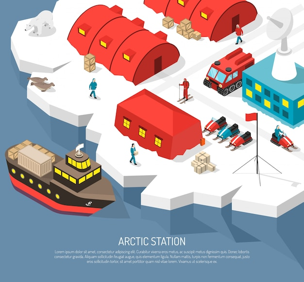 Estación polar ártica isométrica