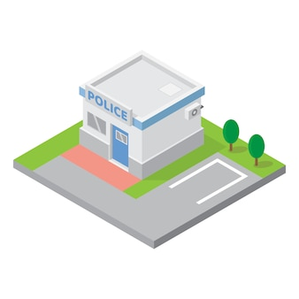 Estación de policía que construye el vector isométrico para el elemento del mapa 3d