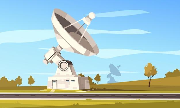Estación de radiotelescopio con gran antena parabólica para investigación espacial contra la ilustración del paisaje otoñal