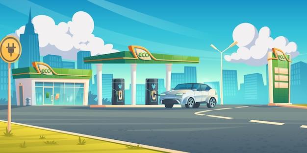 Estación de recarga de coches eléctricos servicio de repostaje de ev