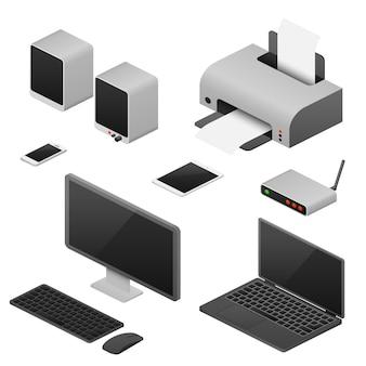 Estación de trabajo digital, computadoras isométricas, suministros de espacio de trabajo de oficina.