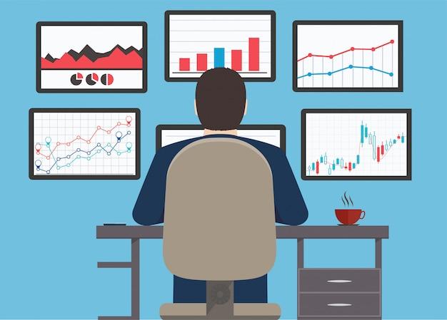 Estación de trabajo, información de análisis web y estadística del sitio web de desarrollo.