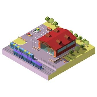 Estación de tren de la ciudad edificio isométrico