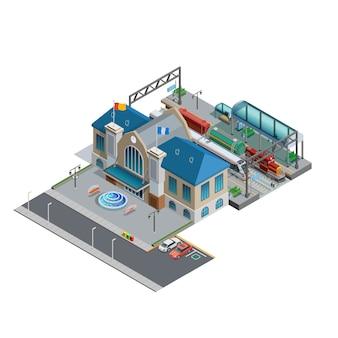 Estación de tren isométrica en miniatura