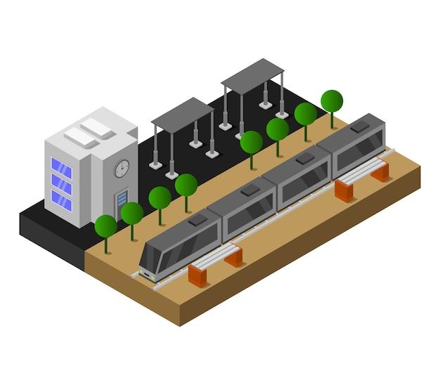 Estación de tren isométrica