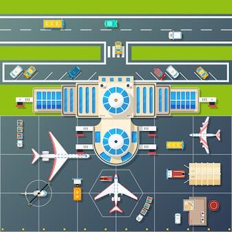 Estacionamiento del aeropuerto vista superior imagen plana