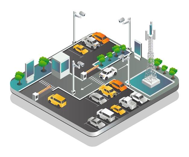 Estacionamiento y circuito cerrado de televisión con torre de comunicación