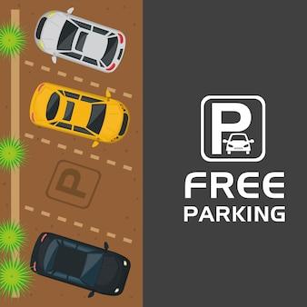Estacionamiento gratuito vista aérea escena