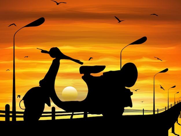 Estacionamiento de motos en el camino en el crepúsculo con gráficos vectoriales.