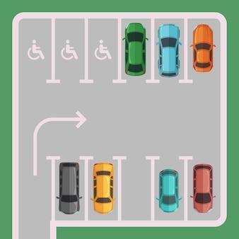 Estacionamiento con plazas para minusválidos.