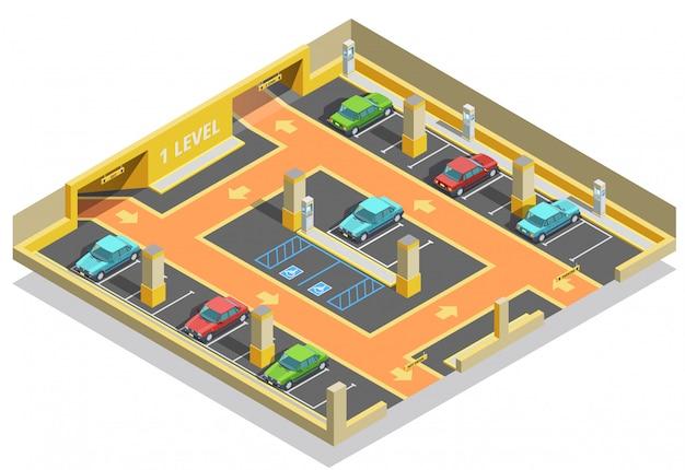 Estacionamiento subterráneo plantilla isométrica