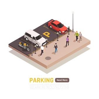 Estacionamientos isométricos y gente caminando plantilla de banner