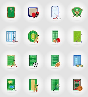 Estadio y campo de juegos de la corte para los juegos de deportes iconos planos vector ilustración