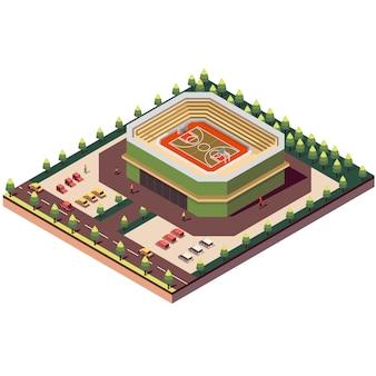 Estadio de cancha de baloncesto isométrica