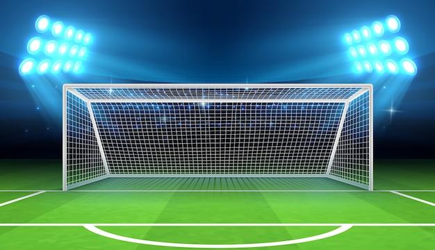 Estadio deportivo con ilustración de portería de fútbol.