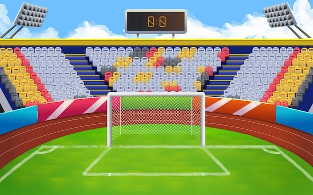 Estadio, fondo de vector de meta de fútbol