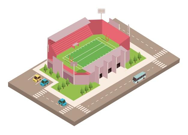 Estadio de fútbol y carretera