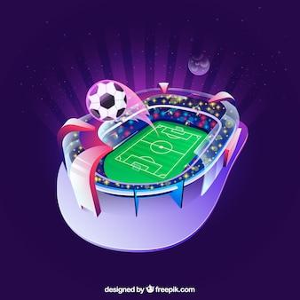 Estadio de fútbol en estilo isométrico