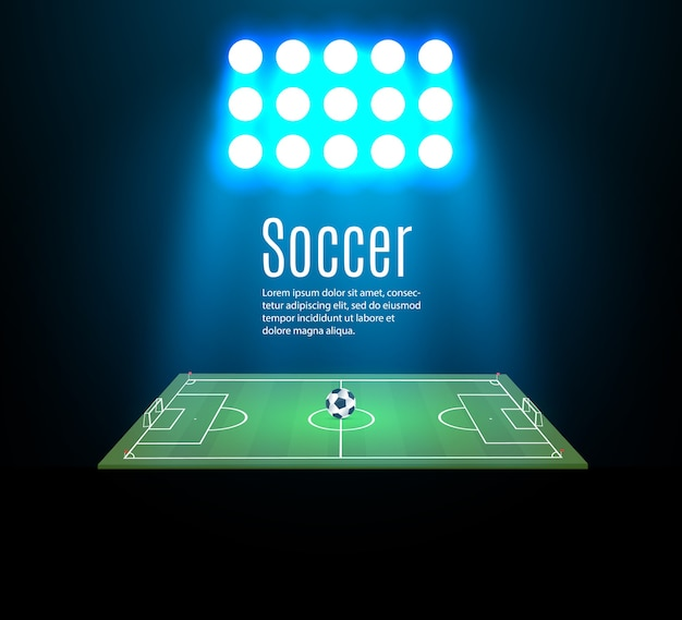 Estadio de fútbol con pelota en el campo de fútbol y reflector
