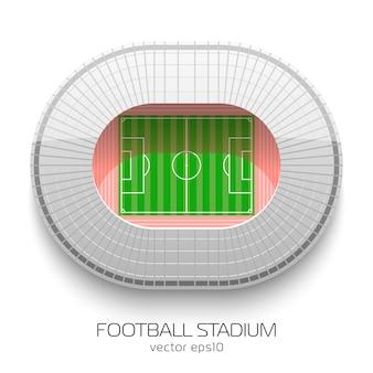 Estadio de fútbol vista aérea sobre fondo blanco.