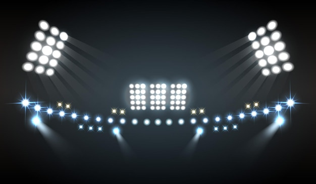 El estadio ilumina la composición realista con símbolos de espectáculo y tecnología.