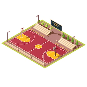 Estadio isométrico con cancha de baloncesto