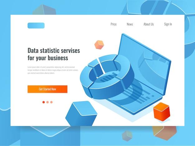 Estadística de datos y análisis, concepto de negocio del ícono de informe, planificación y estrategia de información