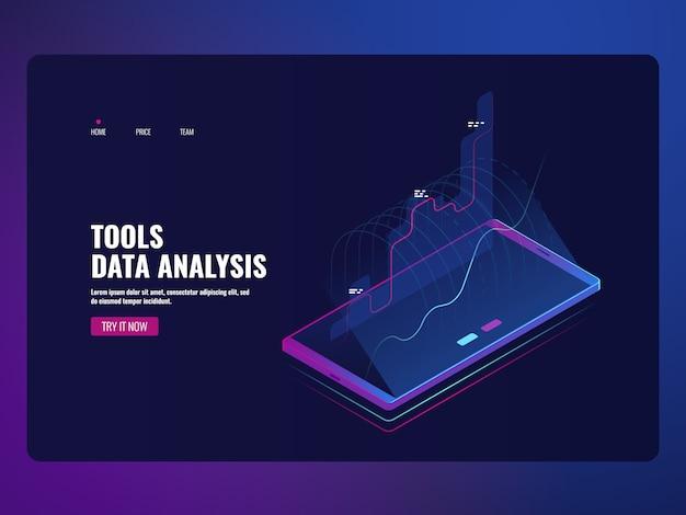 Estadística de información y análisis de datos del servicio móvil, informe financiero, icono de banco en línea