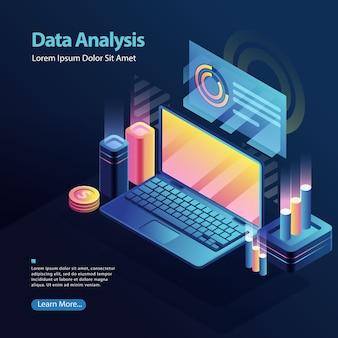 Estadísticas de análisis de datos para el informe empresarial en la pantalla del portátil