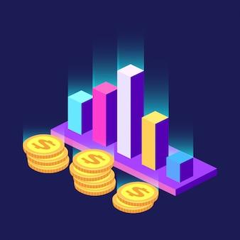 Estadísticas de barras y símbolos de dinero isométrica borrosa.