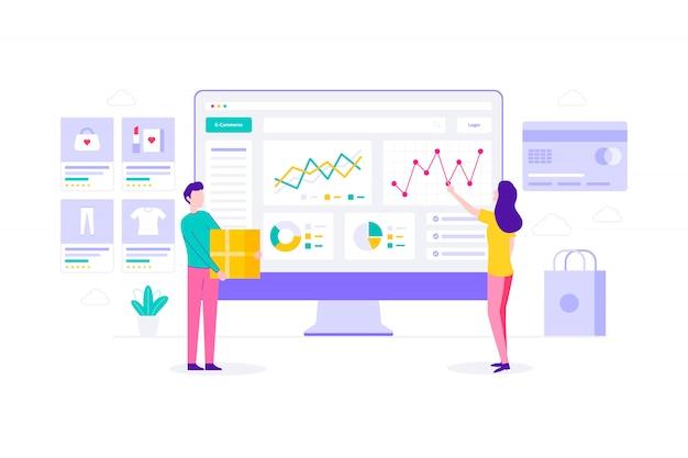 Estadísticas de comercio electrónico ilustración plana de compras en línea