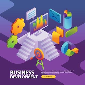 Estadísticas de datos de marketing para informe empresarial en la ilustración de la página web con estilo isométrico