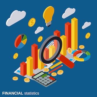 Estadísticas financieras planas vector concepto isométrico