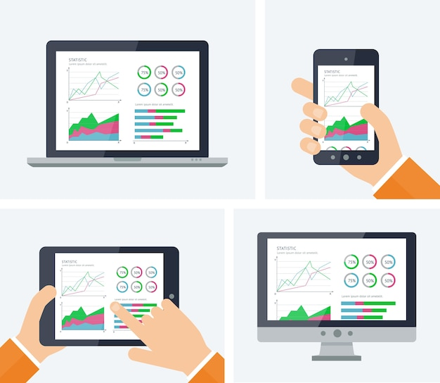 Estadísticas. infografía con gráficos y elementos de tablas en las pantallas de los dispositivos.