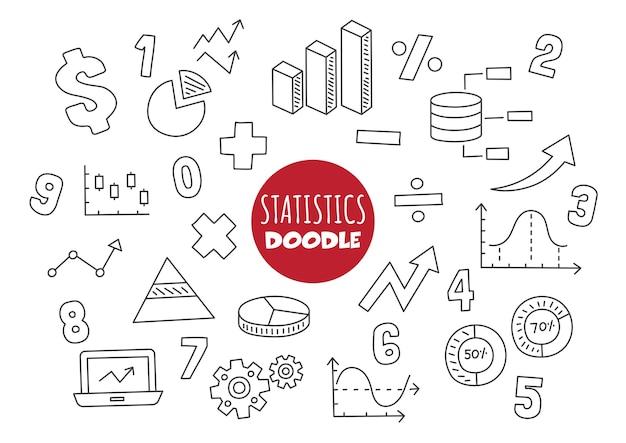 Estadísticas kawaii doodle estilo de dibujo a mano alzada