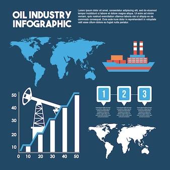 Estadísticas de mapas de logística de transporte de infografía de industria petrolera
