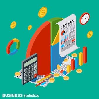 Estadísticas de negocios plano isométrico vector concepto ilustración