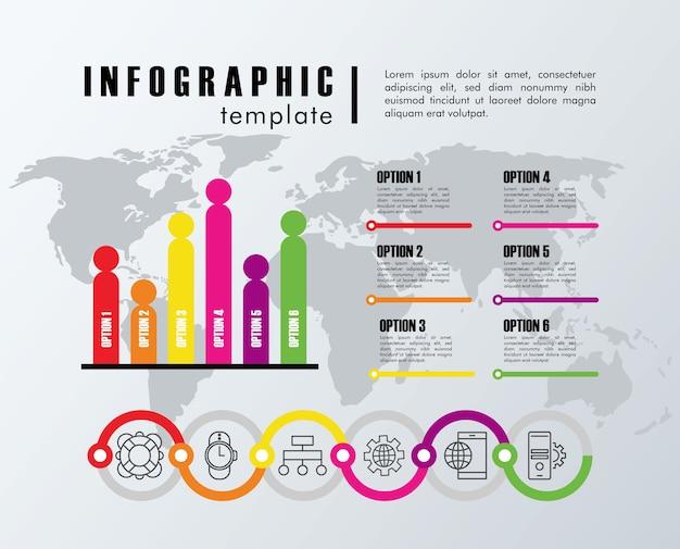 Estadísticas de plantilla de infografía con diseño de ilustración de mapas de planeta tierra