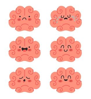 Estado de ánimo de dibujos animados de personajes cerebrales con diferentes emociones conjunto aislado