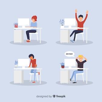 Estado de ánimo de trabajadores de oficina de diseño plano