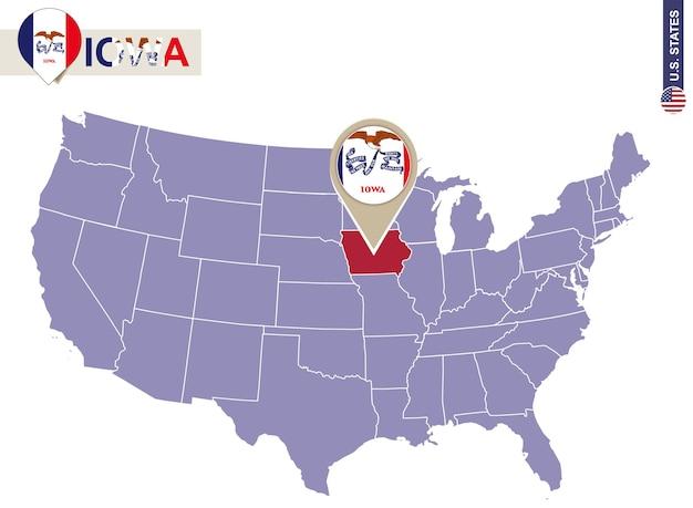 Estado de iowa en el mapa de estados unidos. bandera y mapa de iowa. nuestros estados.