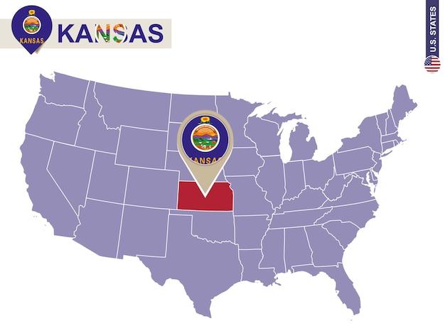 Estado de kansas en el mapa de estados unidos. bandera y mapa de kansas. nuestros estados.