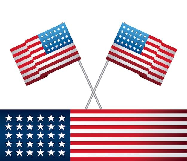 Estado unido de banderas americanas en palos cruzados