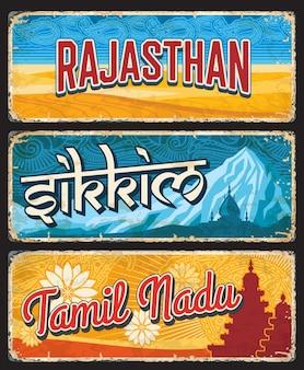 Estados indios de rajasthan, sikkim y tamil nadu
