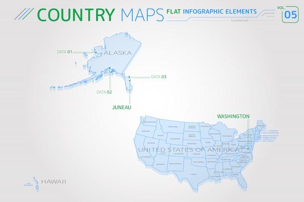 Estados unidos de américa, alaska, hawaii mapas vectoriales