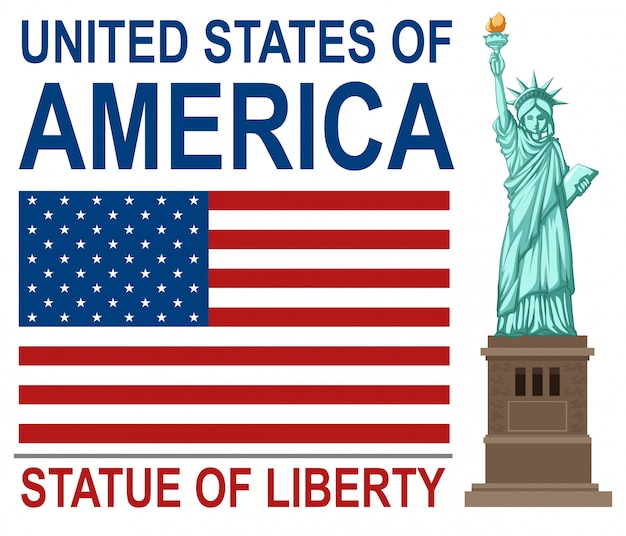 Estados unidos de américa con la estatua de la libertad