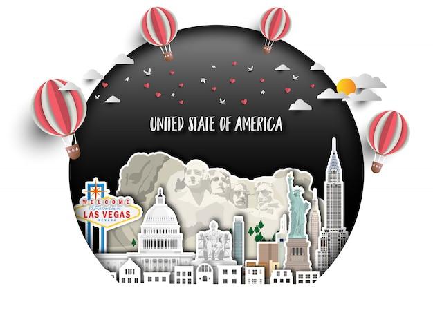 Estados unidos de américa landmark global travel and journey