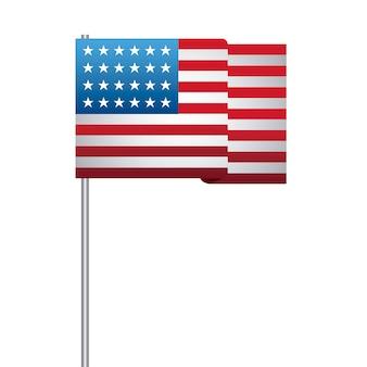 Estados unidos de bandera americana en palo
